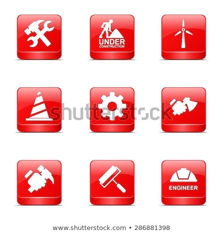construction tools square vector red icon design set 2 stock photo © rizwanali3d