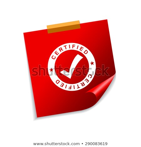 Certified Red Sticky Notes Vector Icon Design Stock photo © rizwanali3d