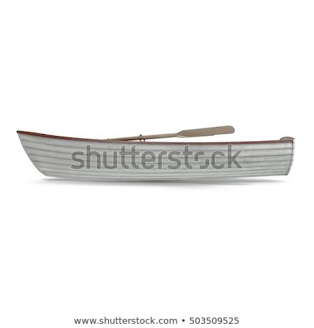 Fából készült evezős csónak öreg pihen kavics tengerpart Stock fotó © paulfleet