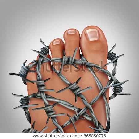 tornozelo · entorse · jovem · masculino · isolado · branco - foto stock © tashatuvango