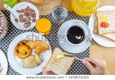 croissant · servido · café · da · manhã · fruto · de · laranja · comida - foto stock © flariv