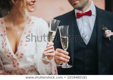 Genç düğün çift şampanya gözlük sevmek Stok fotoğraf © gsermek