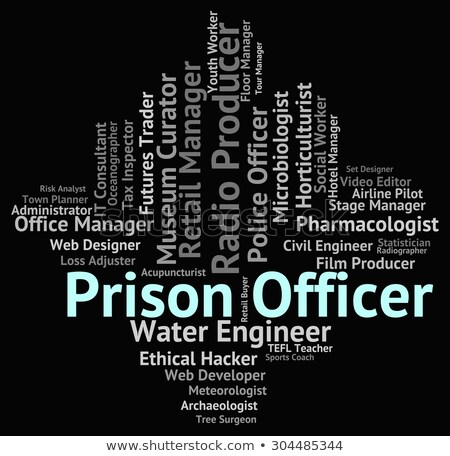 Stok fotoğraf: Prison Officer Indicates Correctional Facility And Career
