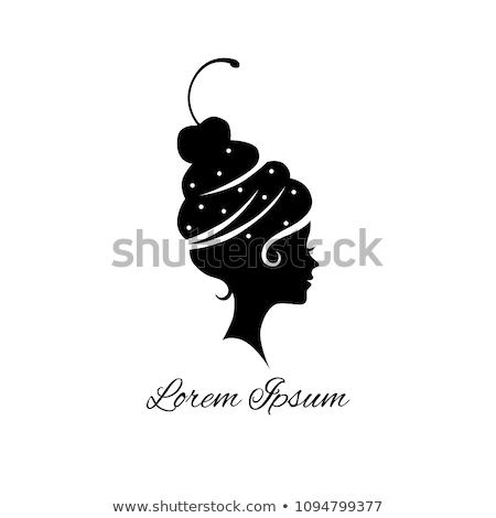 Csokoládé lány sziluett retro szexi fekete Stock fotó © coolgraphic