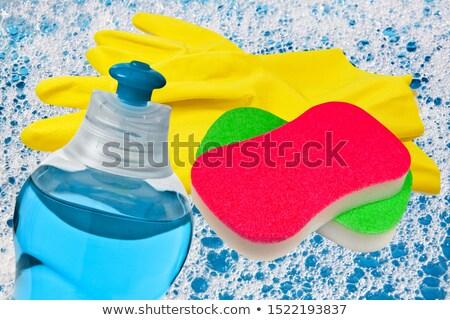 Prato limpeza esponja isolado branco água Foto stock © FOKA