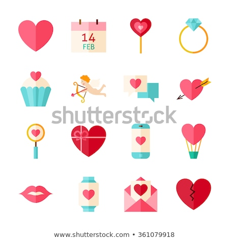 collection of wedding love and valentines day icons and symbols   pink stock photo © lordalea