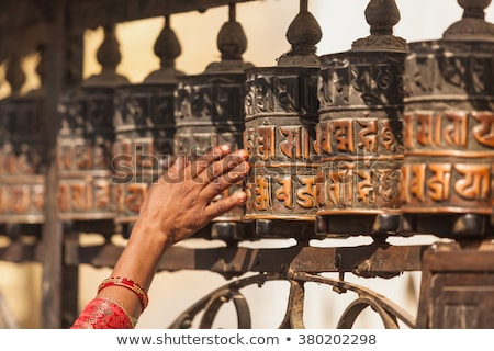 Golden prayer wheels in Tibet Stock photo © bbbar