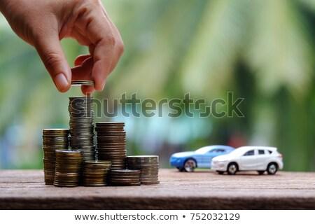 Stock fotó: Megtakarított · pénz · vásárol · autó · átlátszó · persely · érmék