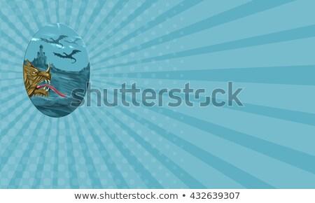 Dragão cabeça castelo oval aquarela estilo Foto stock © patrimonio