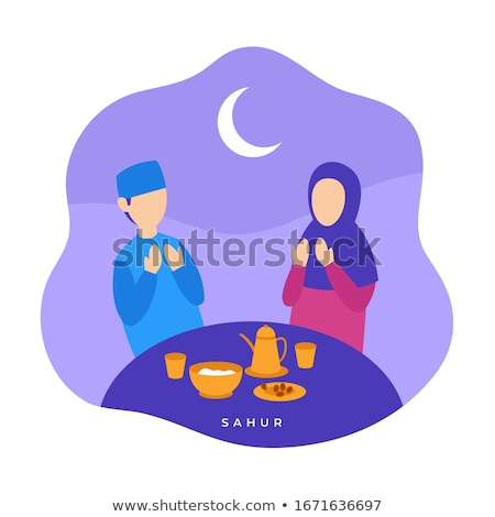 Muszlim böjt tevékenységek ramadán hónap istentisztelet Stock fotó © zurijeta