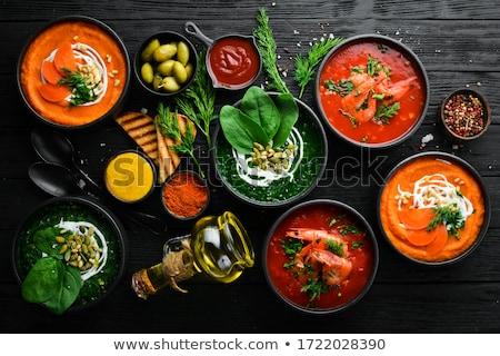 ストックフォト: トマト · 野菜 · クリーム · スープ · 白 · 調理