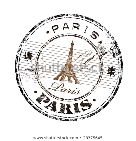 eiffel tower symbol and the name paris written inside the stamp stock photo © leonardo