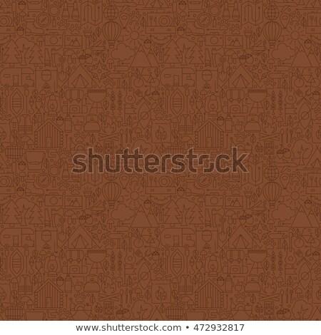 линия коричневый летний лагерь плитка шаблон Сток-фото © Anna_leni