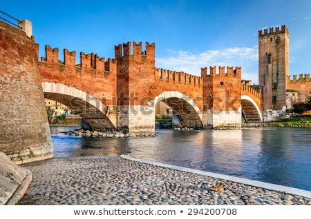 Verona, Italy. Scenery with Adige River and Ponte Scaligero and Castelvecchio Stock photo © OleksandrO