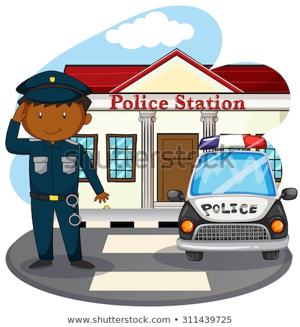 A policeman outside the police station Stock photo © bluering