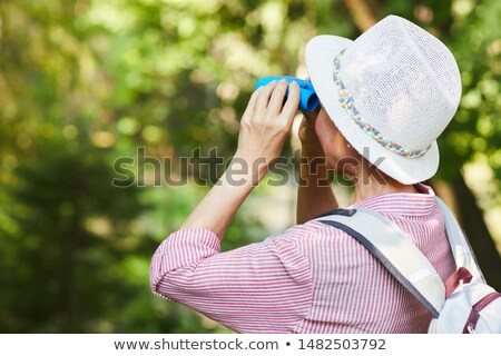 Rear view of casual female looking at sunlight through trees Stock photo © stevanovicigor