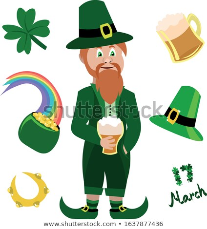 man with red beard with four leaf and coins in pot stock photo © adrenalina