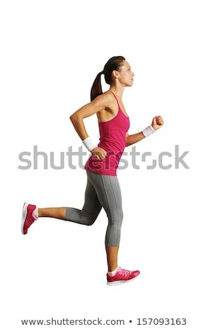Fitness vrouw profiel studio geïsoleerd witte Stockfoto © deandrobot