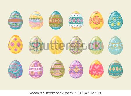 retro · páscoa · floral · ovos · conjunto · isolado - foto stock © beholdereye