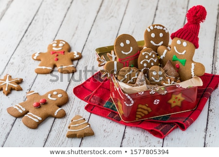 homemade Christmas gingerbread cookies in a tin stock photo © laciatek
