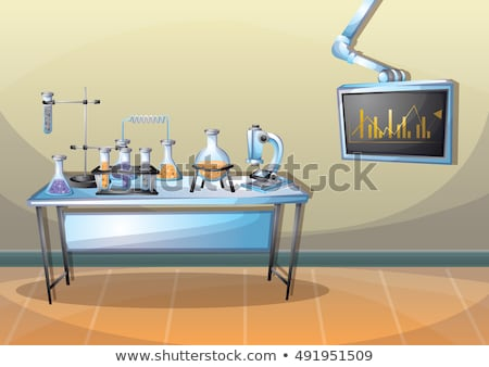Cartoon background of chemical laboratory stock photo