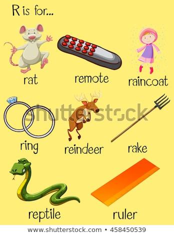 alfabeto · letra · r · menina · crianças · estudante · arte - foto stock © bluering