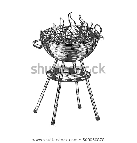 Kettle barbecue grill sketch icon. Stock photo © RAStudio
