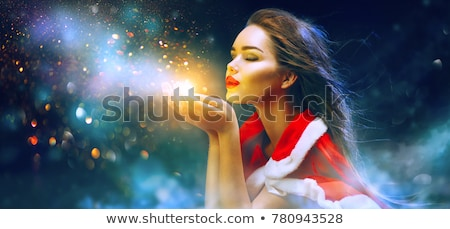 Stock photo: The young woman in snow girl costume in christmas concept