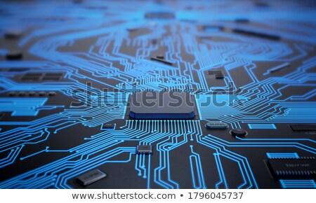 Komputera edytor zielone złota chip streszczenie Zdjęcia stock © BrandonSeidel