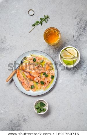 gemarineerd · zalm · voedsel · vis · citroen · Blur - stockfoto © monkey_business