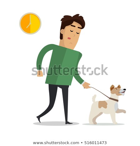 tired man in casual clothes walking with his dog stock photo © robuart