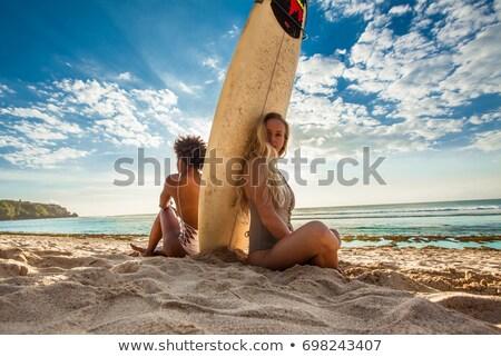 Mosolyog afroamerikai lány szörfdeszka fiatal pózol Stock fotó © PawelSierakowski