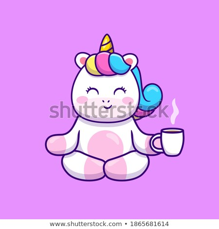 cartoon style illustration of happy unicorn drinking tea in the  Stock photo © curiosity