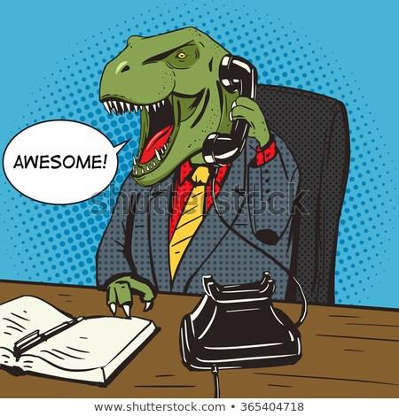 恐竜 ビジネスマン 漫画 スーツ 歯 ネクタイ ストックフォト © blamb