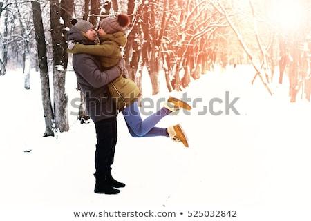 gelukkig · paar · samen · sneeuw · park - stockfoto © tekso