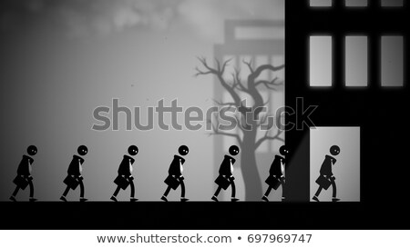 Dystopian illustration of white-collar workers going to work stock photo © Noedelhap