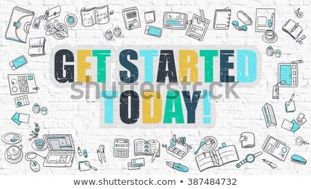 the future starts today in multicolor doodle design stock photo © tashatuvango