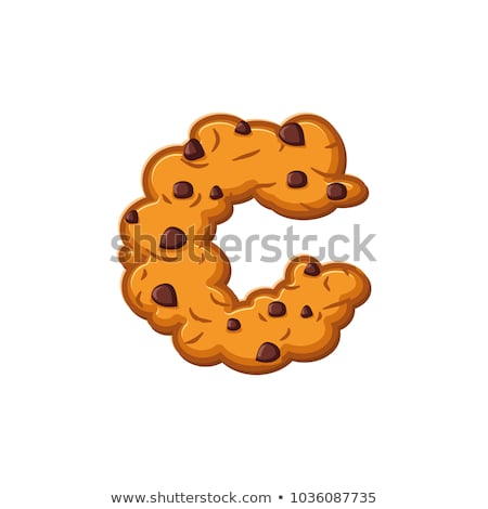 C letter cookies. Cookie font. Oatmeal biscuit alphabet symbol.  Stock photo © popaukropa
