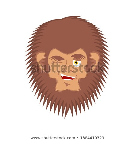 Bigfoot winks emoji. Yeti joyful emotion face. Abominable snowma Stock photo © popaukropa