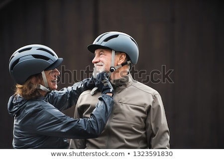 senior · homem · ciclo · exercer · bicicleta · sorridente - foto stock © is2