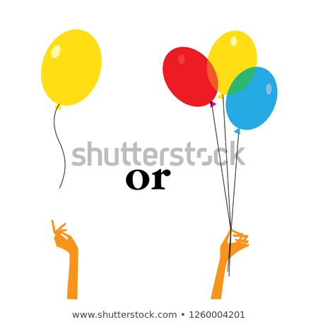 kids letting go red balloons stock photo © is2