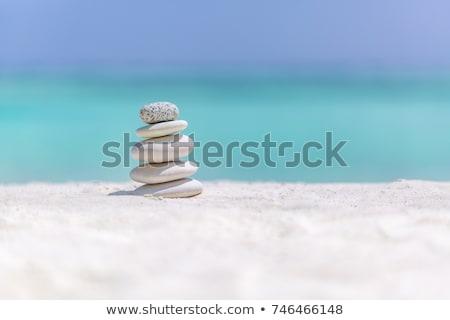 Steine · Gleichgewicht · Kieselsteine · blau · Meer - stock foto © blasbike