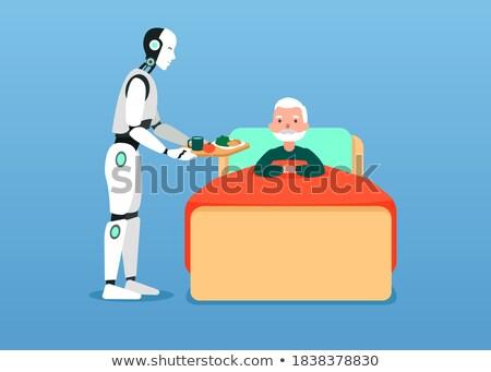Robot assistant bringing food to an elderly man. Stock photo © RAStudio