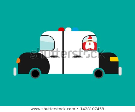 Stock photo: Arrested Santa Claus in police car. Festive arrest. Disturbance