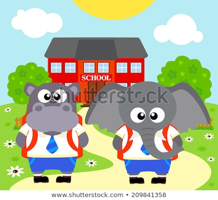 Back to school background with elephant ,hippopotamus Stock photo © Dimpens