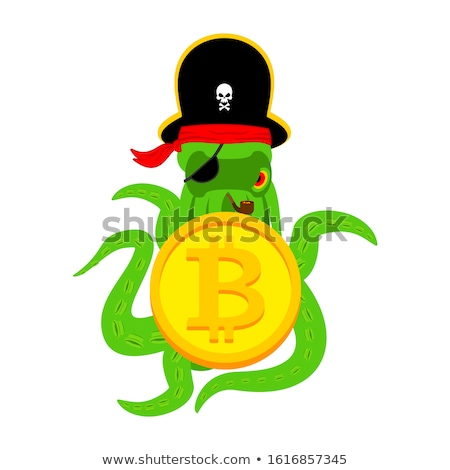Octopus Web Pirate and bitcoin. Hacker. Thief and crypto currenc Stock photo © popaukropa