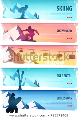 Winter Sport. Cableway. Ski Pass. Ski horizontal banner. Vector illustration. Stock photo © Leo_Edition