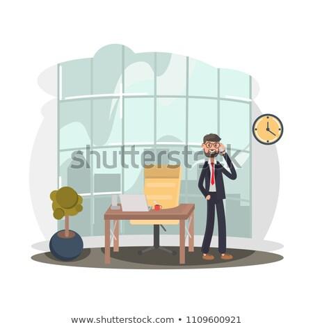 Stock fotó: üzletember · beszél · telefon · pénz · pop · art · retro