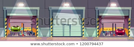 service station with sports car and tools stock photo © djdarkflower