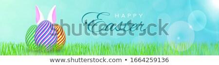 Kellemes húsvétot üdvözlet szöveg díszít nap nyuszi Stock fotó © balasoiu